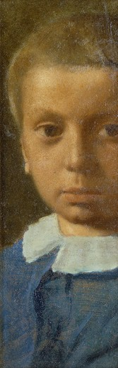 Stock Photo: 866-10830 The Child in Blue; L'Enfant en Bleu. Edgar Degas (1834-1917). Oil on paper laid on board. Painted circa 1853-54. 35.7 x 12cm. This work depicts the artist's younger brother Rene Degas (1845-1926) and is the earliest known portrait of him.