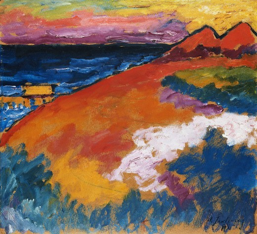 Stock Photo: 866-10839 On the Ostsee; An der Ostsee. Alexej von Jawlensky (1864-1941). Oil on board. Painted in 1911. 61 x 61cm