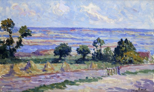 Stock Photo: 866-10848 Haystacks by the Sea; Meules au Bord de la Mer. Maximilien Luce (1858-1941). Oil on board. Signed and dated 1914.