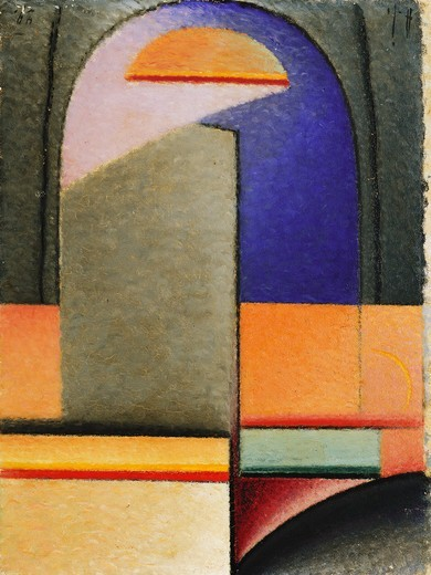 Evening; Abend. Alexei von Jawlensky (1864-1941). Oil on board. Painted in 1929-30. 53.1 x 32.7cm. : Stock Photo