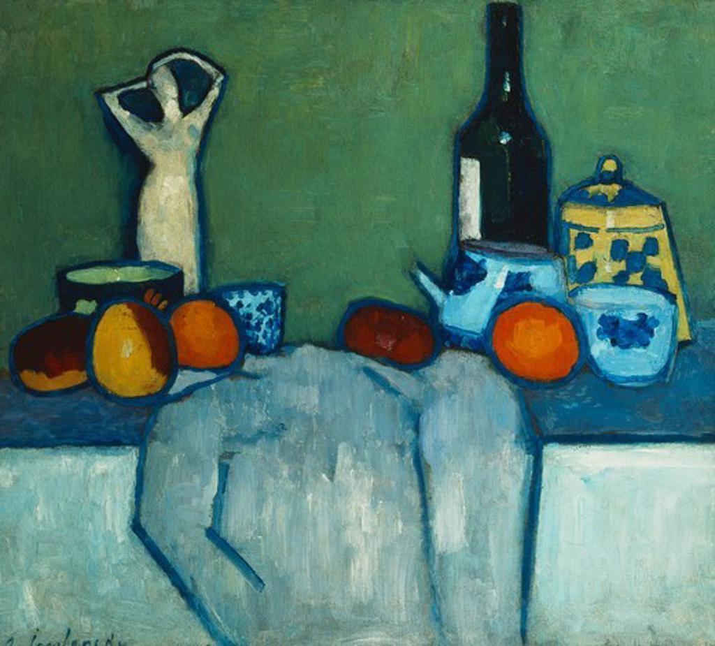 Still Life with Bottle, Fruit and Figure; Stilleben mit Flasche, Fruchten und Figur. Alexei von Jawlensky (1864-1941). Oil on board. Painted circa 1907-1908. 55.4 x 57.7cm. : Stock Photo