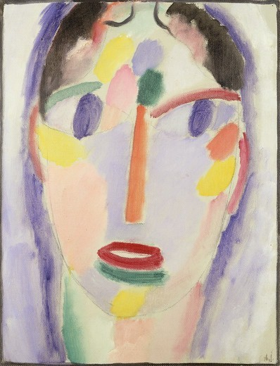 Stock Photo: 866-11006 Blue head; Kopf In Blau. Alexej von Jawlensky (1864-1941). Oil on board. Dated 1918. 36 x 28cm