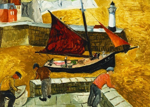 Stock Photo: 866-11120 Mousehole, Cornwall. Christopher Wood (1901-1930). Oil on board laid down on panel. Painted in 1928. 40 x 54.5cm
