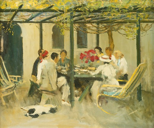 Stock Photo: 866-11183 Tea at Palm Springs. Sir John Lavery (1856-1941). Oil on canvas-board. Painted in 1938. 49.5 x 59.5cm. The sitters for this picture are Gertrude and Gordon Coutts, with whom the artist stayed in Palm Springs. The two ladies on the right are, front to back, Anne Servill and Katherine Fitzgerald.