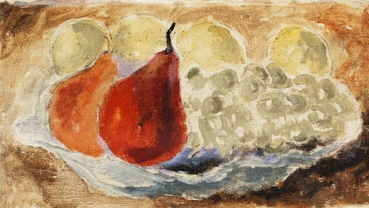 Stock Photo: 866-11222 Shell, Dish and Fruit. Christopher Wood (1901-1930). Oil on board. Painted circa 1922. 6 1/2 x 12in.