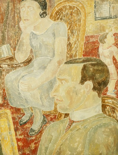 Stock Photo: 866-11274 Interior. Jessica Dismorr (1885-1939). Oil on gessoed board. 61 x 47cm