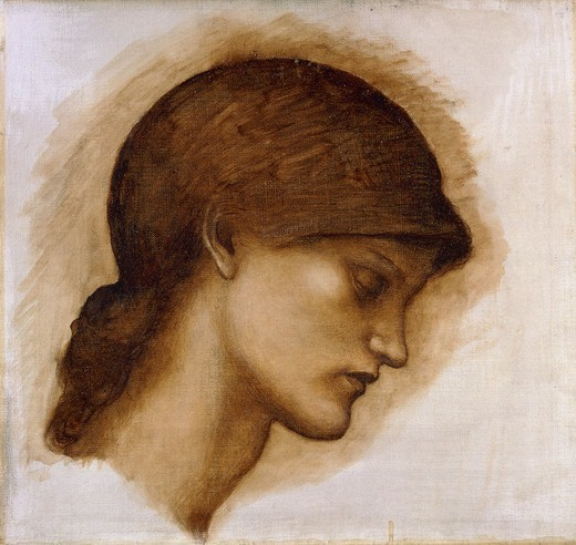 Stock Photo: 866-11376 Study of a Lady's Head.  Sir Edward Coley Burne-Jones (1833-1898). Oil on canvas. 36.7 x 40cm