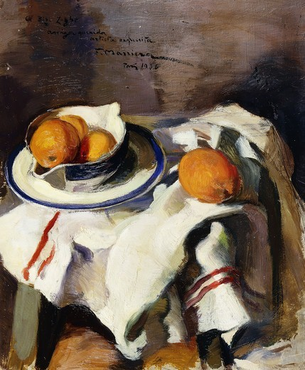 A Still Life with Oranges. F. Masriera (active early 20th century). Oil on board. Signed and dated 1936. 46 x 38cm. : Stock Photo