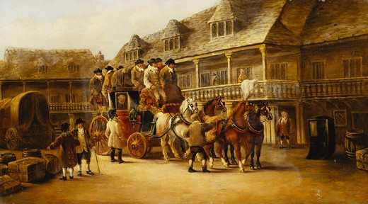 Stock Photo: 866-11477 Boarding the Coach to London. John Charles Maggs (1819-1896). Oil on canvas. Dated 'Bath 1879'. 43.2 x 76.2cm