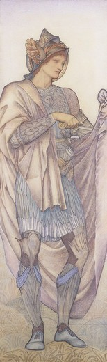 St. Martin. Edward Burne-Jones (1833-1898). Coloured chalks. Signed and dated 1880. 189.5 x 58.5cm. A cartoon for Morris & Co for the figure of St. Martin in the Chancel east window at St. Martin's Church, Brompton, Cumberland. : Stock Photo