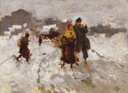 Figures in the Snow. Mose Bianchi (1840-1904). Oil on panel. 22 x 31cm : Stock Photo