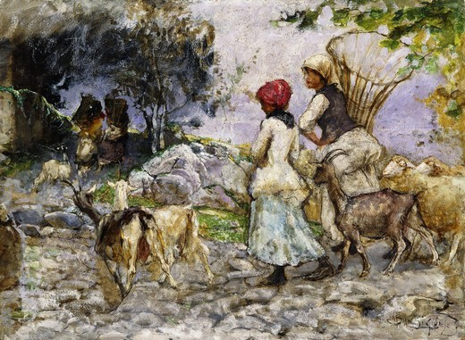 Stock Photo: 866-11831 The Goatherds. Mose Bianchi (1840-1904). Oil on panel. 36 x 49cm