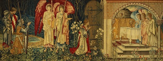 The Achievement of the Holy Grail by Sir Galahad, Sir Bors and Sir Percival. Edward Burne-Jones (1833-1898). High-warp tapestry in wool and silk. 253 x 628cm. : Stock Photo