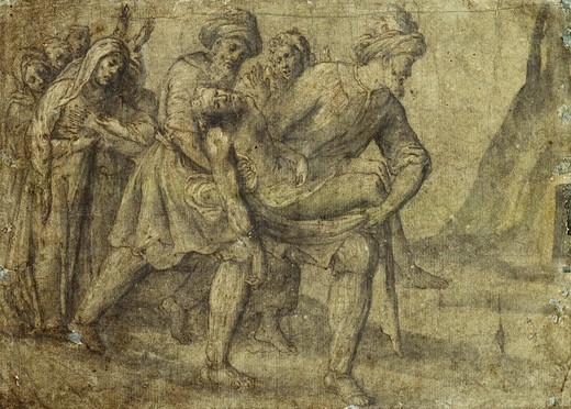 Christ Carried to the Tomb. Lorenzo Lotto (ca. 1480-1556). Black, chalk, pen and brown ink, grey wash heightened with white on greenish paper. 26 x 35.7cm. : Stock Photo