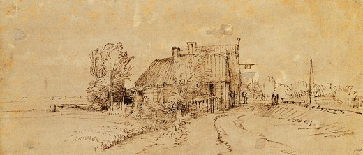 Stock Photo: 866-12063 An Inn by a Roadside. Rembrandt Harmensz. van Rijn (1606-1669). Pen and brown ink, brown wash on pale grey preparation. 98 x 22.7cm.