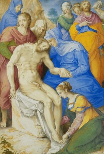 Stock Photo: 866-12067 The Lamentation. Giorgio Giulio Clovio (1498-1578). Watercolour and bodycolour heightened with gold, on vellum. 21.8 x 14.7cm.