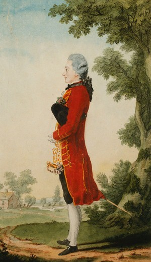 Stock Photo: 866-12125 The Baron de Talleyrand, in a Landscape. Louis de Carmontelle (1717-1806). Black lead, red chalk, watercolour.