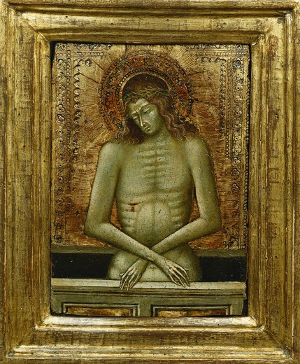 Stock Photo: 866-12217 Christ at the Tomb. Giovanni di Paolo di Grazia (ca. 1403-1483). Tempera on gold ground panel. 14.8 x 10.4cm.