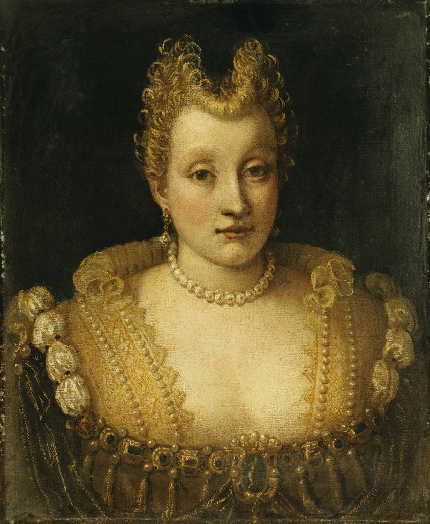 Stock Photo: 866-12255 Portrait of a Lady Said to be of the Contarini Family, Bust Length, Wearing an Elaborate Dress with Jewels and a Pearl Necklace and Earrings. Francesco Montemezzano (ca. 1540-after 1602). Oil on canvas. 57.2 x 47cm.