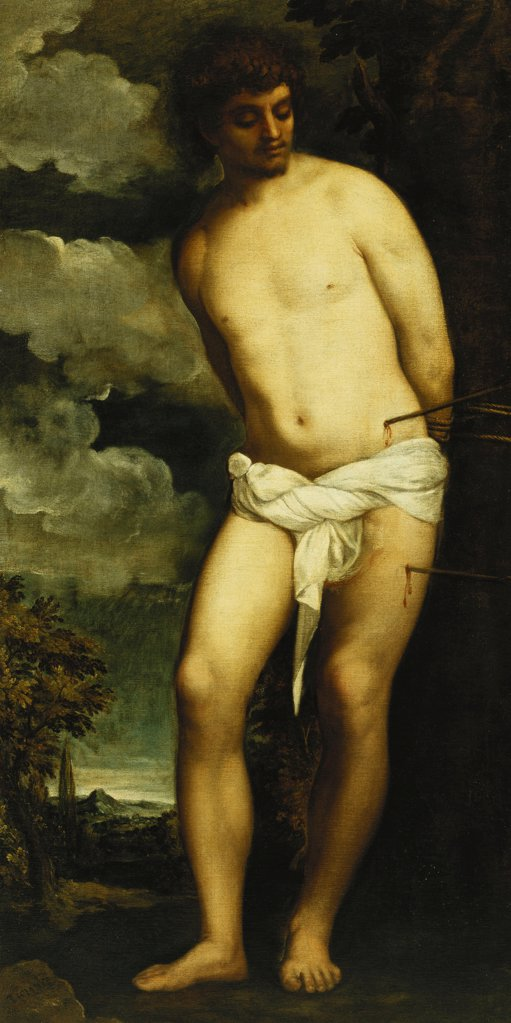Stock Photo: 866-12270 Saint Sebastian. Tiziano Vecelli, called Titian (c.1488-1576). Oil on canvas. 190 x 96.5cm.