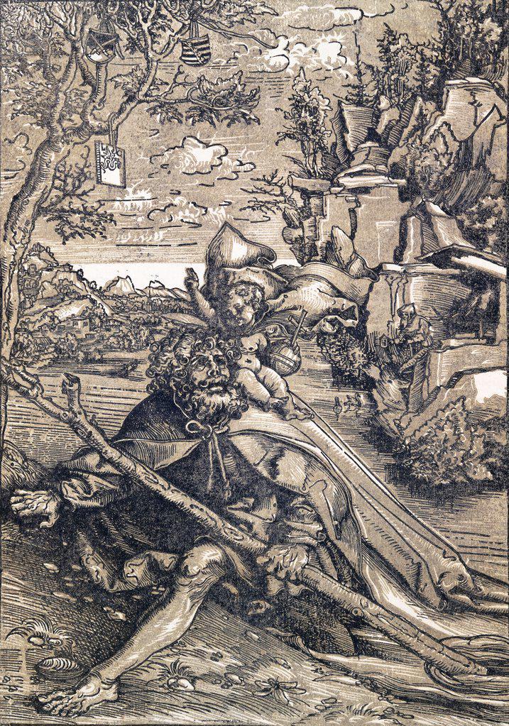 Saint Christopher. Lucas Cranach I (1472-1553). Woodcut. Executed 1506-9. 28.6 x 20.1cm. : Stock Photo