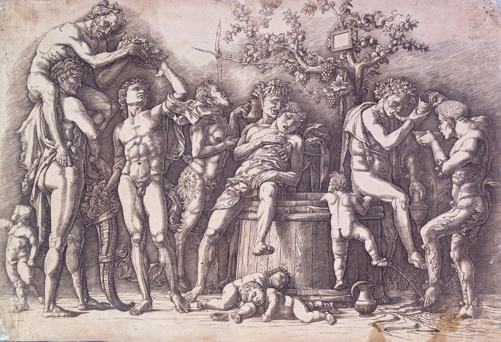 Stock Photo: 866-12307 A Bacchanal with a Wine-Press. Andrea Mantegna (1431-1506). Engraving. Circa 1475. 29.9 x 43.7cm.
