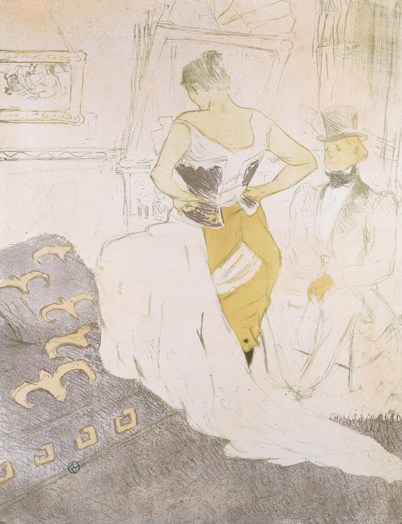 Stock Photo: 866-12318 Woman in a Corset, from Elles; Femme en Corset, from Elles. Henri de Toulouse-Lautrec (1864-1901). Lithograph. Executed in 1896. 52.4 x 40.5cm.