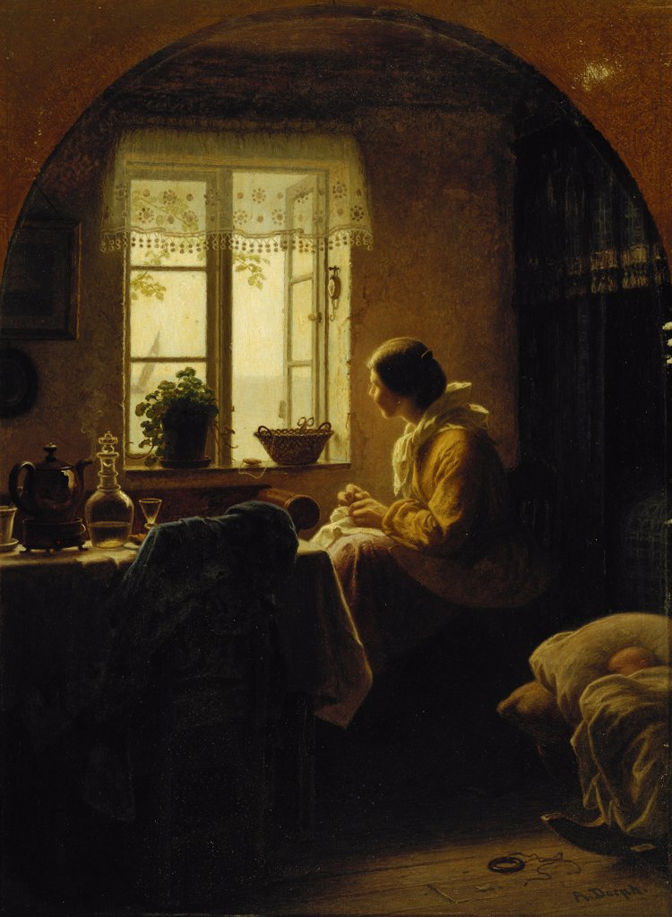 Stock Photo: 866-12340 At the Window. Anton Laurids Johannes Dorph (1831-1914). Oil on canvas. 40.5 x 30cm