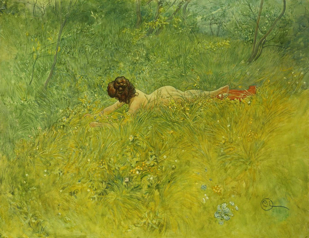 Stock Photo: 866-12456 On the Grass; I Grongraset. Carl Larsson (1853-1919). Watercolour and bodycolour. Painted in Sundborn 1902. 50.3 x 65.2cm