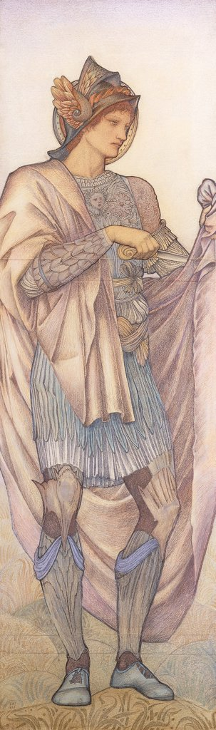 Stock Photo: 866-12469 St. Martin. Edward Burne-Jones (1833-1898). Coloured Chalks. Dated 1880. 189.5 x 58.5cm.