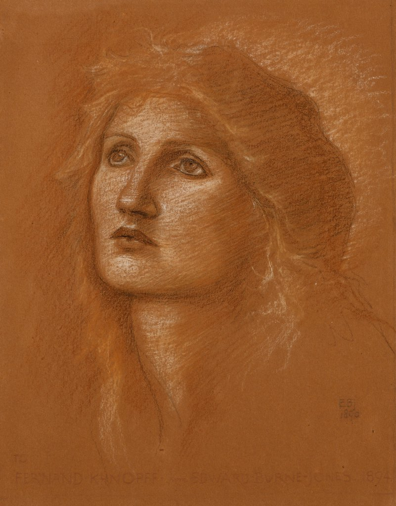 Stock Photo: 866-12498 Head of a Woman. Edward Burne-Jones (1833-1898). Coloured chalks on terracotta coloured paper. Dated 1890. 31.4 x 23.5cm.