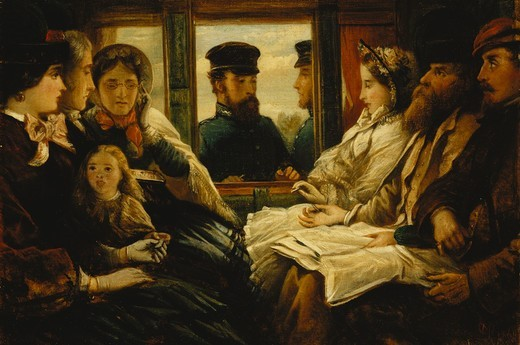 Stock Photo: 866-12565 Travelling Present 1860 'Tickets Please'. Thomas Musgrave Joy (1812-1866). Oil on canvas. Dated 1861. 28.5 x 42cm.
