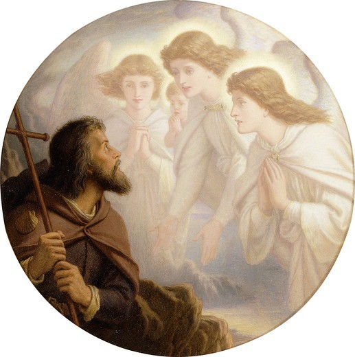Stock Photo: 866-12607 Lead, Kindly Light, Amid the Encircling Gloom, Lead Thou Me On!...And with the Morn Those Angel Faces Smile, Which I Have Loved Long Since, and Lost Awhile. Sir Joseph Noel Paton (1821-1901). Oil on board. Dated 1894. Diameter 30.5cm.