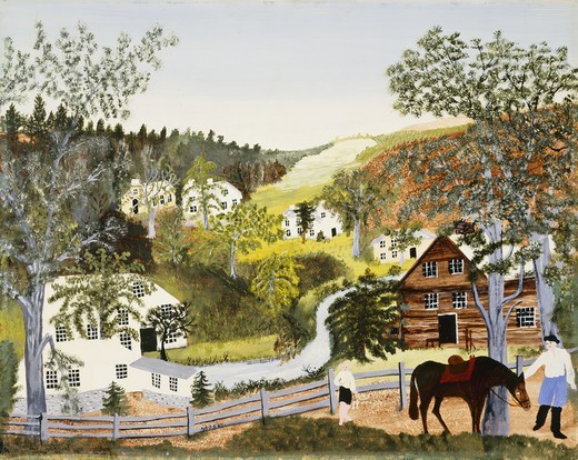 Come on Old Topsy. Anna Mary Robertson `Grandma Moses'(1860-1961). Oil on masonite. Dated Feb 16, 1948. 40.7 x 50.8cm : Stock Photo