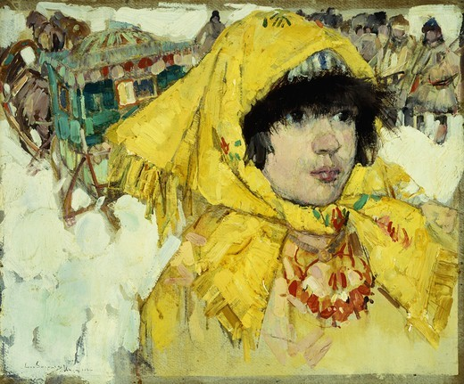 Siberian Girl in Yellow. Leon Gaspard (1882-1964). Oil on board. Signed and dated Urga, 1921. 31.2 x 38.1cm : Stock Photo