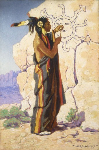 Stock Photo: 866-12786 Sacred Carvings. Warren Eliphalet Rollins (1861-1962). Oil on canvas. 46 x 30.7cm