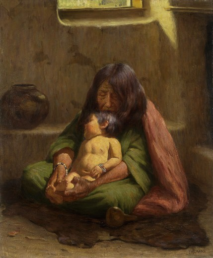 Indian Mother and Baby. Joseph Henry Sharp (1859-1953). Oil on canvas laid on masonite. 61 x 51cm : Stock Photo