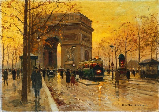 Stock Photo: 866-13018 L'Arc de Triomphe, Paris.  Edouard Leon Cortes (1882-1969). Oil on canvas. 33 x 45.8cm