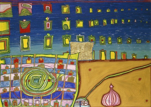Stock Photo: 866-13097 Heimweh der Fenster-Heimweh ins Meer. Friedensreich Hundertwasser (1928-2000). Watercolour, egg tempera, oil and goldleaf on paper mounted on canvas. Dated 1964. 70 x 97cm.