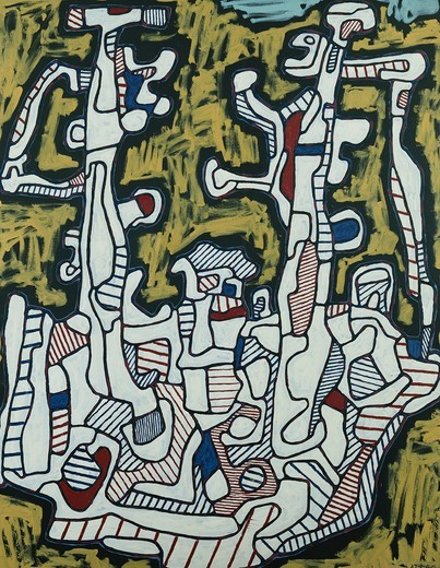Yellow Boat; Bateau au Fond Jaune. Jean Dubuffet (1901-1985). Oil on canvas. Painted 23 August 1964. 146 x 114cm. : Stock Photo