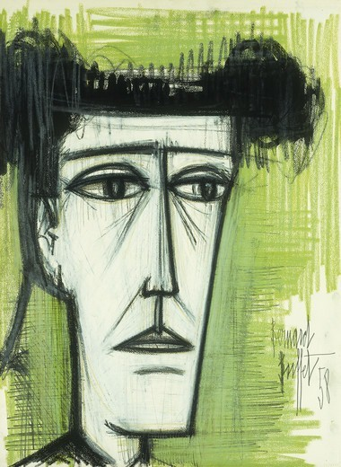 Le Matador. Bernard Buffet (1928-1999). Coloured wax crayons, brush and black ink over pencil on paper, 74.9 x 55.9 cm. Painted in 1958. : Stock Photo