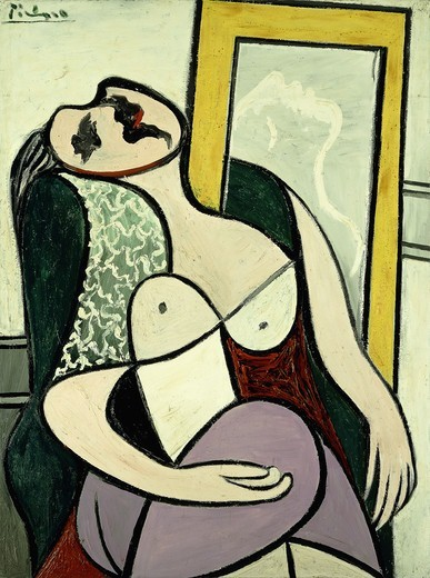 Stock Photo: 866-13566 Sleeper with a Mirror; La Dormeuse au Miroir. Pablo Picasso (1881-1973) Oil on panel. Painted in Boisgeloup on 14 January 1932. 130 x 97cm.