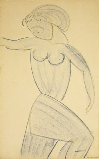 Stock Photo: 866-13692 Standing Female Nude; Femme nue Debout. Constantin Brancusi (1876-1957). Coloured wax crayons on paper. 42.5 x 26.3cm