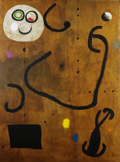 Stock Photo: 866-13895 The Swallow Dazzled by the Glare of the Red Apple; L'Hirondelle Eblouie par l'Eclat de la Prunelle Rouge. Joan Miro (1893-1983). Oil on canvas. Painted in 1925 and 1960. 257 x 195cm.