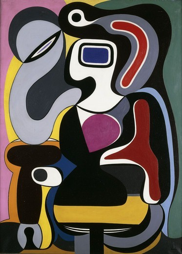 Stock Photo: 866-14151 Composition. Auguste Herbin (1882-1960). Oil on canvas. Painted in 1928. 100 x 73cm