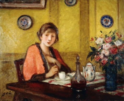 Cup of Coffee; La Tasse de Cafe. Georges d'Espagnat (1870-1950). Oil on canvas. 81 x 100cm. : Stock Photo
