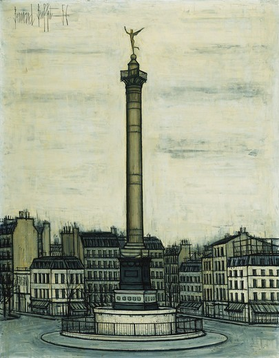 La Place de la Bastille et le Genie. Bernard Buffet (1928-1999). Oil on canvas. Painted in 1956. 146.7 x 114.3cm. : Stock Photo