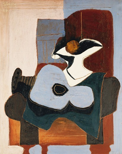 Stock Photo: 866-14612 Guitar and Pink Fruit Dish; Guitare et Compotier Rose. Pablo Picasso (1881-1973). Oil on canvas. Sigend and dated 1924. 100 x 81cm.