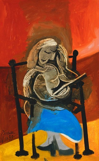 Stock Photo: 866-14623 Woman Reading; Femme Lisant. Pablo Picasso (1881-1973). Oil on canvas. Signed and dated 16 October 1939. 61 x 38cm.