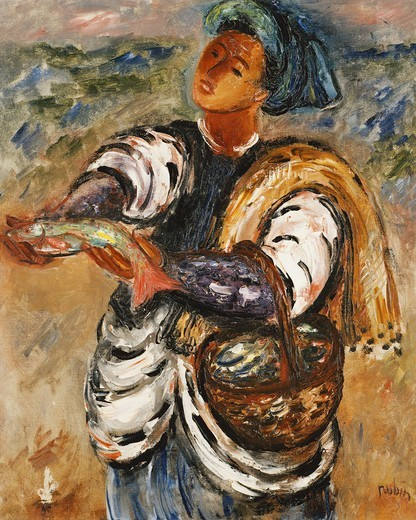 Stock Photo: 866-14741 The Fisherman. Reuven Rubin (1893-1974). Oil on canvas. 66 x 51cm.